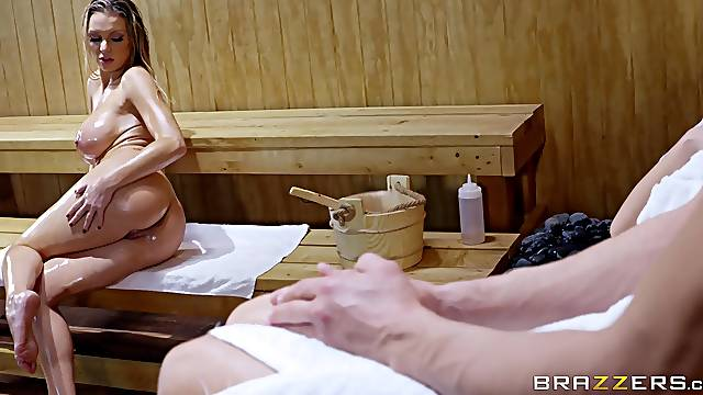 Fucked at the sauna by a man younger than her