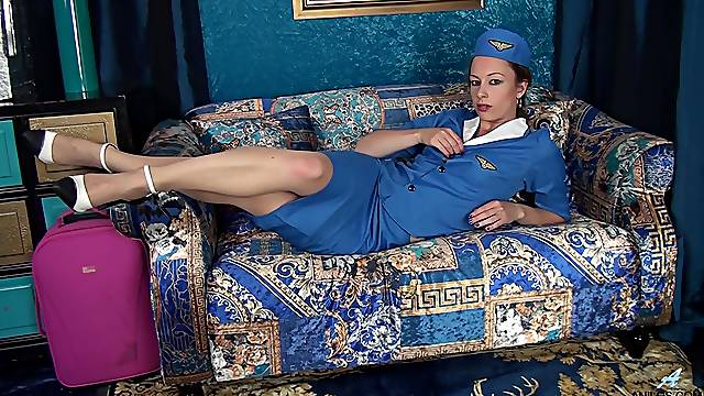 Solo stewardess loves a bit of solo fingering during her free time