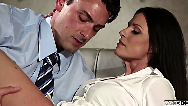 Slim mature babe loads the new guy's big dick while at the office