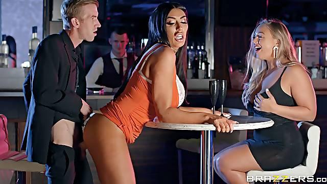 Lustful Ava Koxxx has fun with stranger's long donger in a bar
