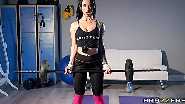 Amazing Latina Katrina Jade gets interrupted during her workout