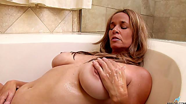 Solo mature with huge naturals, soapy finger fucking orgasms