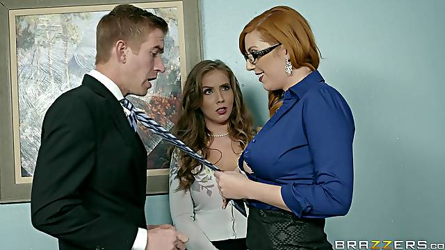 MILFs are keen to share the new guy in a marvelous threesome