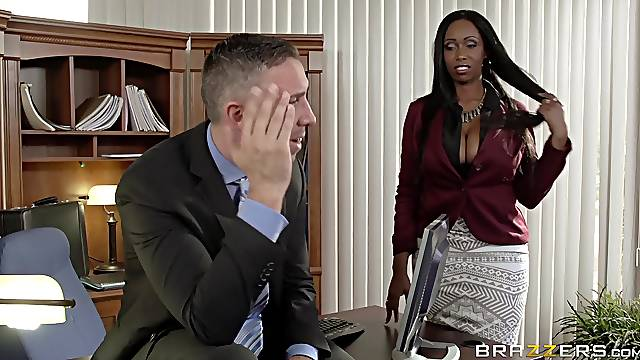 Facial for the busty office MILF in intriguing home scenes