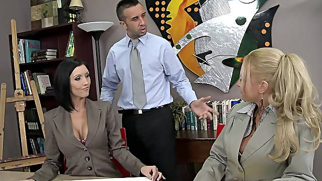 A really nasty business meeting leads the hot MILF to insane fucking