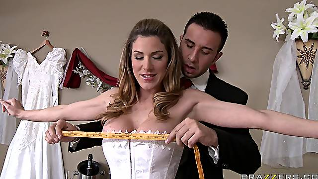 Energized woman is in for a tasty treat right on her wedding day