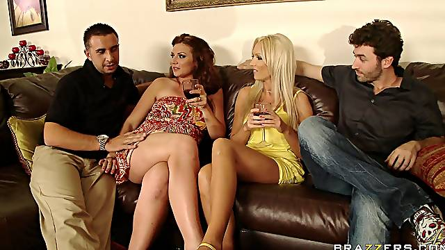 Aroused wives are keen to swap and share younger dicks on the couch