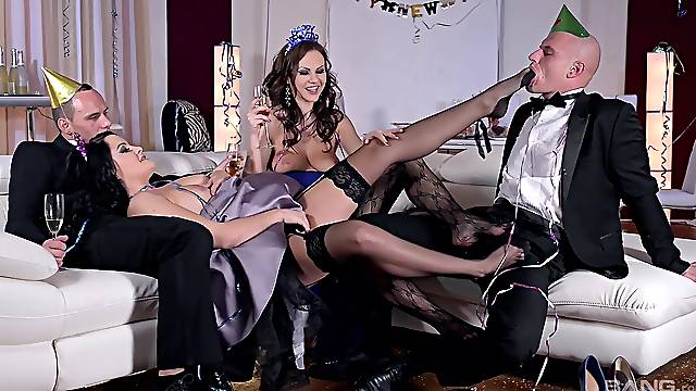 Party girls share and swap partners in fulminating anal foursome