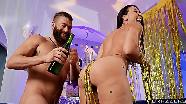 Bearded man roughly fucks birthday bitch after seeing her naked