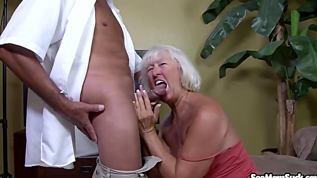 Nude granny throats like she's 18 again