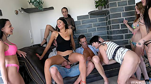 Quite a pleasure to have so many horny wives sharing and swapping cocks
