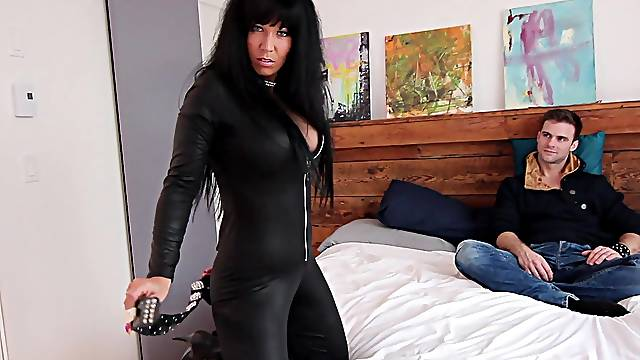 Energized MILF in a leather costume, heavy porn with the stepson