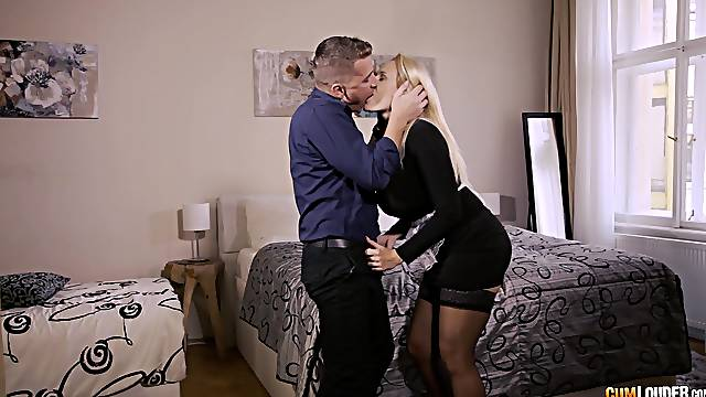 Clothed business woman gets intimate with a much younger partner