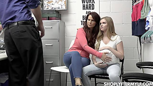 Shoplifters in extreme mom-daughter porn threesome