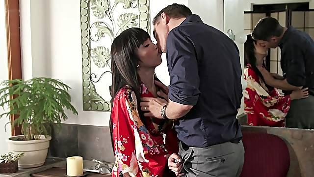 Asian feels man's white cock hammering her so well