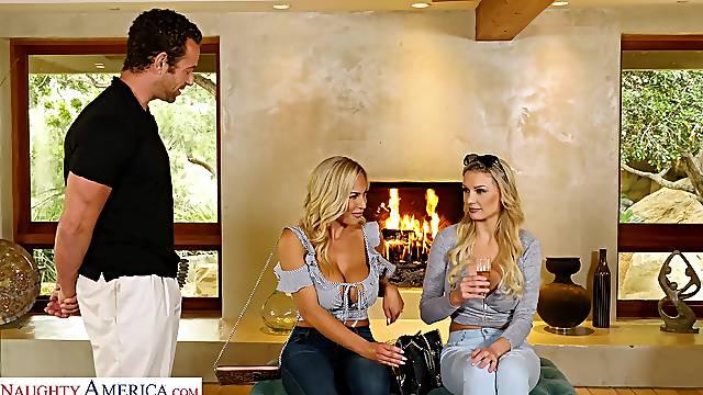 MILFs share a cock in seductive threesome