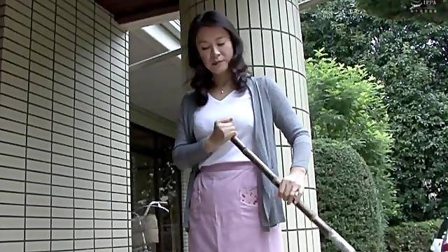 Japanese cleaning lady gets seduced by a younger guy