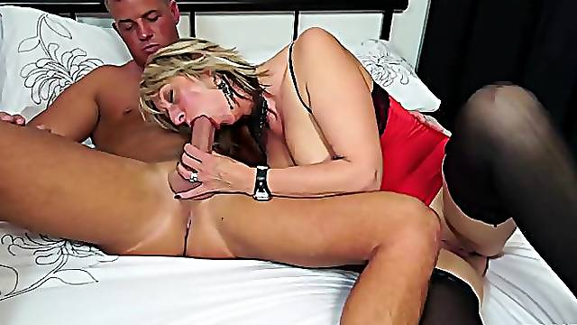 MILF gives sloppy head to stepson before riding his monster