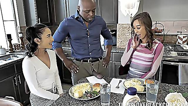 Black hunk suits these Asian broads in threesome