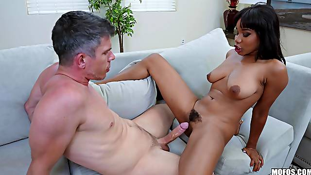 Busty ebony lands entire dick of her daughter's boyfriend inside the pussy