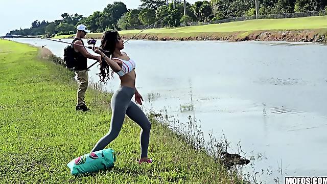 Girl fucked hard during fishing trip by random dude