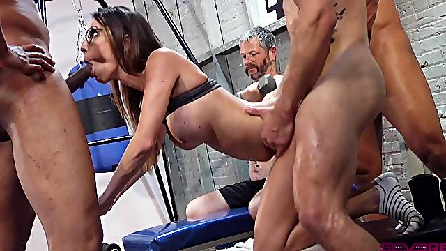 Wife gets roughly fucked in group while hubby watches