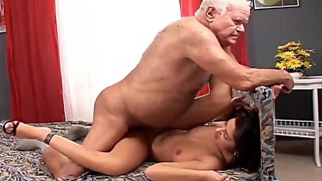 Tera Joy sucks Grandpa Cocksthrill's cock and takes a ride on it