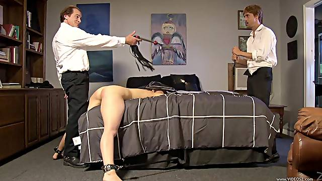 Captivating babe in bondage moaning while being screwed using toy in bdsm sex