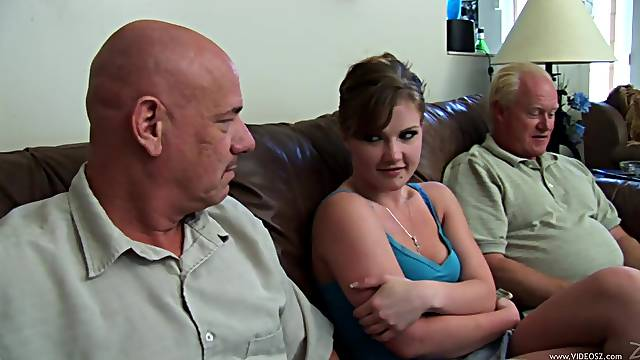 Adorable babe gets fucked silly by old guys in epic old vs young action