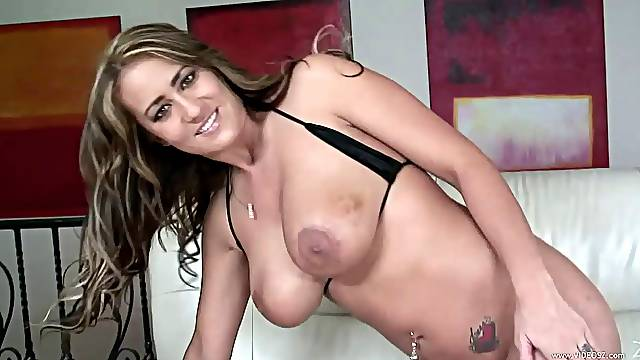 Striping her bikini before ass fingering & deepthroat blowjob during sex on sofa