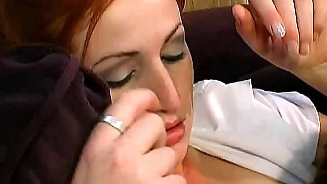 Smutty pornstar in sexy nylon stockings gets her natural tits squeezed while being slammed hardcore anal