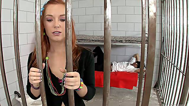 Jailbird babe gets two dicks to help her out of jail