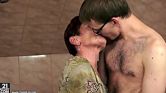Skinny short-haired mature brunette blows and gets fucked hard