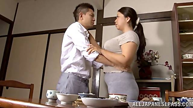 Horny big tit Asian MILF getting fucked in the hotel bed