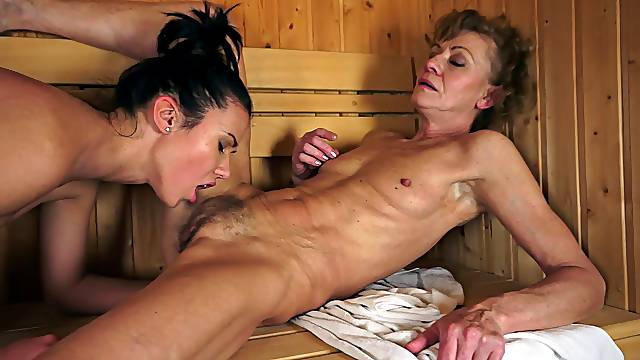 Vivacious lesbian granny thrilled as she gets her pussy licked
