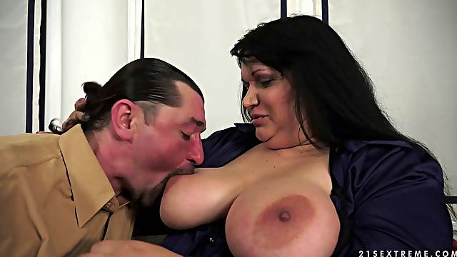 Plump brunette granny gets her fat mops covered with cum
