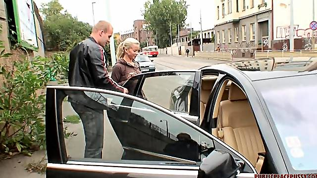 Blonde amateur Cindy Dollar picked up and fucked in the car