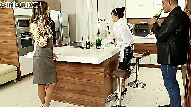 Kinky foursome sex in the office with amazing models Marica and Sophie