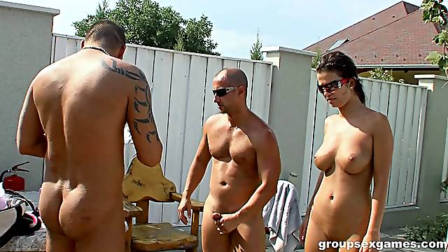 Salacious honey moans while getting screwed at an outdoors orgy