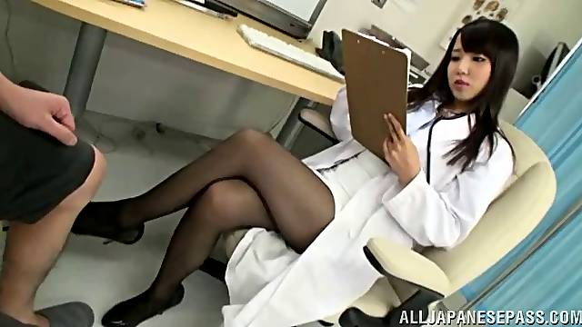 Japanese doctor gives her hung patient an orgasmic handjob