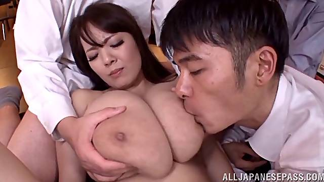 Big boobs Japanese milf forced to swallow after a gang banging