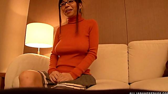 Glamorous Japanese milf in a wet t-shirt gets oiled up then teased with a vibrator