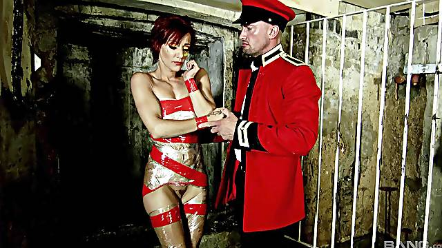 Nasty fucking with tied up female slave Lou Lou who loves HC sex