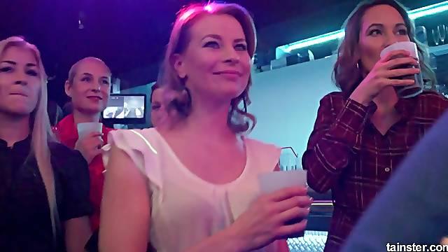 Stunning girls at a party enjoy sucking on throbbing boners