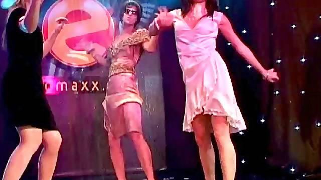 Dancing night club babes get frisky together