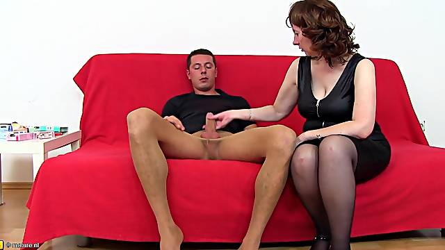 Mature chick with a hairy beaver enjoys the guys's stiff cock