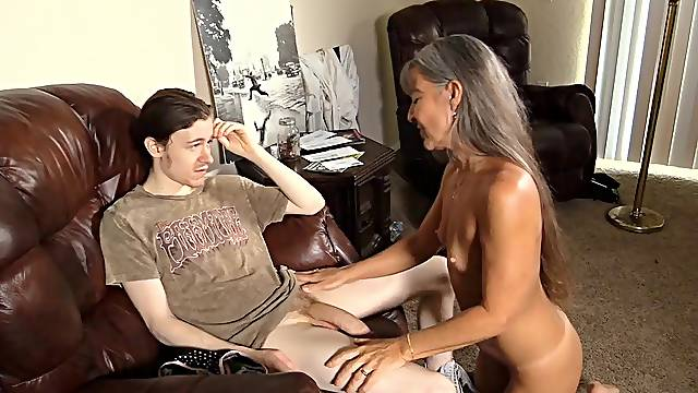 Dirty granny Cherry Lee enjoys riding a dick of her younger neighbor