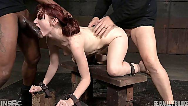 Redhead amateur slut Violet Monroe gets her pussy and mouth fucked