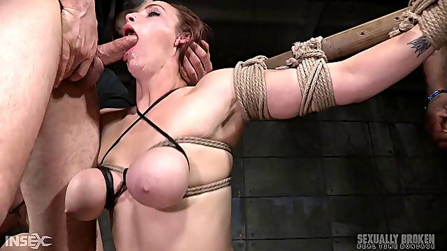 Black and white guy tied up sexy Bella Rossi to fuck her holes