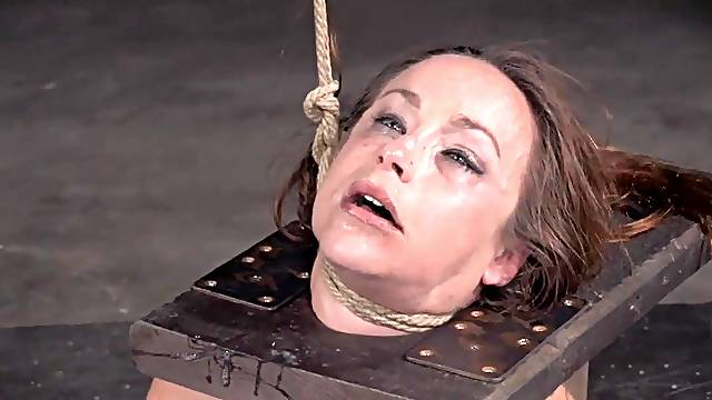 Adorable chick Bella Rossi tied up and mouth fucked by a black guy